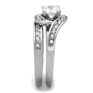 3W575 - Rhodium Brass Ring with AAA Grade CZ  in Clear