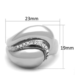 3W586 - Rhodium Brass Ring with Top Grade Crystal  in Clear