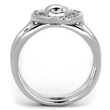 Load image into Gallery viewer, 3W594 - Rhodium Brass Ring with AAA Grade CZ  in Clear