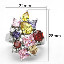 Load image into Gallery viewer, 3W599 - Rhodium Brass Ring with AAA Grade CZ  in Multi Color
