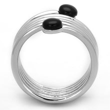 Load image into Gallery viewer, 3W602 - Rhodium Brass Ring with Synthetic Onyx in Jet