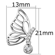 Load image into Gallery viewer, 3W618 - Rhodium Brass Earrings with AAA Grade CZ  in Clear
