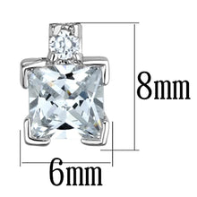 Load image into Gallery viewer, 3W654 - Rhodium Brass Earrings with AAA Grade CZ  in Clear