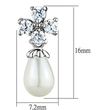 Load image into Gallery viewer, 3W672 - Rhodium Brass Earrings with Synthetic Pearl in White