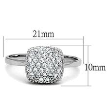 Load image into Gallery viewer, 3W728 - Rhodium Brass Ring with AAA Grade CZ  in Clear