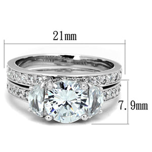 3W731 - Rhodium Brass Ring with AAA Grade CZ  in Clear