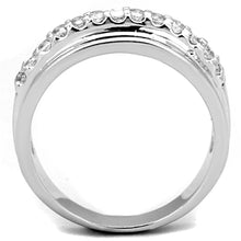 Load image into Gallery viewer, 3W748 - Rhodium Brass Ring with AAA Grade CZ  in Clear