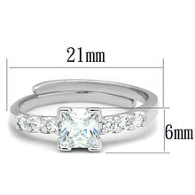 Load image into Gallery viewer, 3W751 - Rhodium Brass Ring with AAA Grade CZ  in Clear