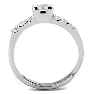 3W751 - Rhodium Brass Ring with AAA Grade CZ  in Clear