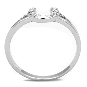 3W762 - Rhodium Brass Ring with AAA Grade CZ  in Clear