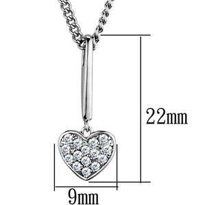 3W773 - Rhodium Brass Chain Pendant with AAA Grade CZ  in Clear