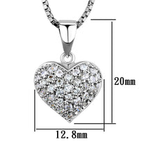 Load image into Gallery viewer, 3W793 - Rhodium Brass Chain Pendant with AAA Grade CZ  in Clear
