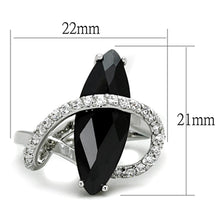 Load image into Gallery viewer, 3W800 - Rhodium Brass Ring with AAA Grade CZ  in Jet