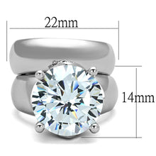 Load image into Gallery viewer, 3W802 - Rhodium Brass Ring with AAA Grade CZ  in Clear