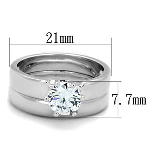 3W805 - Rhodium Brass Ring with AAA Grade CZ  in Clear