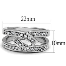 Load image into Gallery viewer, 3W806 - Rhodium Brass Ring with AAA Grade CZ  in Clear
