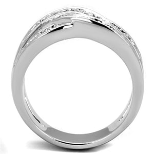 3W806 - Rhodium Brass Ring with AAA Grade CZ  in Clear
