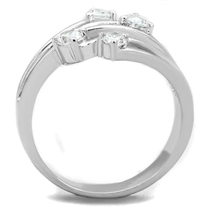 3W813 - Rhodium Brass Ring with AAA Grade CZ  in Clear