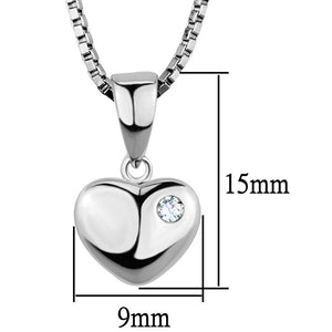 3W825 - Rhodium Brass Chain Pendant with AAA Grade CZ  in Clear