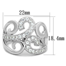 Load image into Gallery viewer, 3W827 - Rhodium Brass Ring with AAA Grade CZ  in Clear