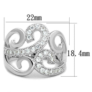 3W827 - Rhodium Brass Ring with AAA Grade CZ  in Clear