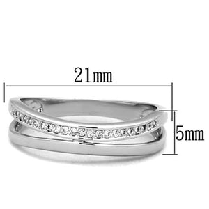 3W829 - Rhodium Brass Ring with AAA Grade CZ  in Clear