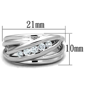 3W830 - Rhodium Brass Ring with AAA Grade CZ  in Clear
