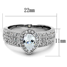Load image into Gallery viewer, 3W831 - Rhodium Brass Ring with AAA Grade CZ  in Clear