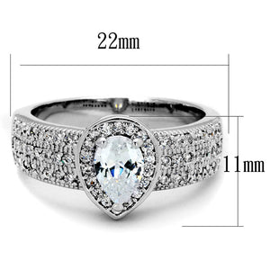3W831 - Rhodium Brass Ring with AAA Grade CZ  in Clear