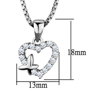 3W840 - Rhodium Brass Chain Pendant with AAA Grade CZ  in Clear