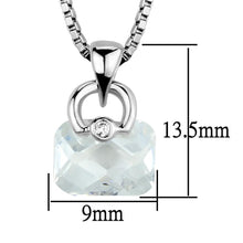 Load image into Gallery viewer, 3W844 - Rhodium Brass Chain Pendant with AAA Grade CZ  in Clear