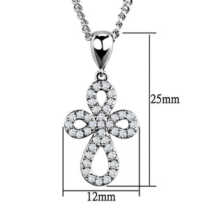 3W845 - Rhodium Brass Chain Pendant with AAA Grade CZ  in Clear
