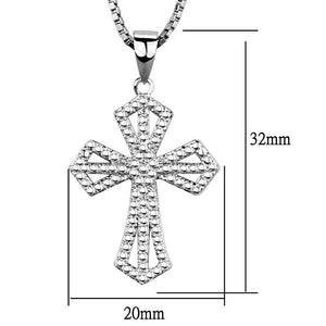 3W850 - Rhodium Brass Chain Pendant with AAA Grade CZ  in Clear