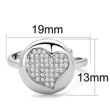 Load image into Gallery viewer, 3W864 - Rhodium Brass Ring with AAA Grade CZ  in Clear