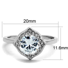 Load image into Gallery viewer, 3W877 - Rhodium Brass Ring with AAA Grade CZ  in Clear