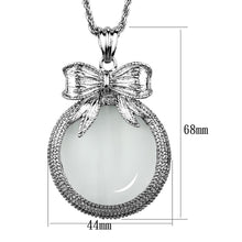 Load image into Gallery viewer, 3W911 - Rhodium Brass Magnifier pendant with Synthetic Synthetic Glass in Clear