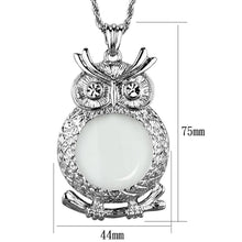 Load image into Gallery viewer, 3W919 - Rhodium Brass Magnifier pendant with Top Grade Crystal  in Clear