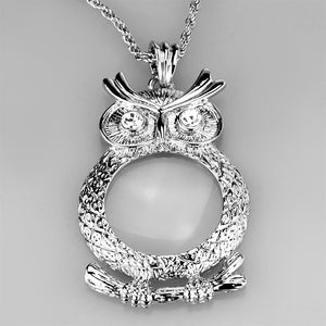 3W919 - Rhodium Brass Magnifier pendant with Top Grade Crystal  in Clear