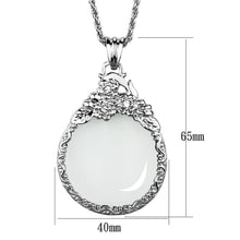 Load image into Gallery viewer, 3W920 - Rhodium Brass Magnifier pendant with Top Grade Crystal  in Clear