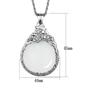 3W920 - Rhodium Brass Magnifier pendant with Top Grade Crystal  in Clear
