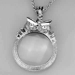 3W921 - Rhodium Brass Magnifier pendant with Top Grade Crystal  in Clear