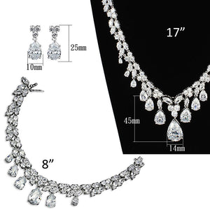 3W925 - Rhodium Brass Jewelry Sets with AAA Grade CZ  in Clear