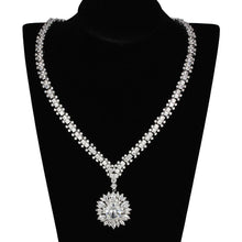 Load image into Gallery viewer, 3W927 - Rhodium Brass Jewelry Sets with AAA Grade CZ  in Clear
