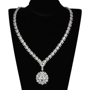 3W927 - Rhodium Brass Jewelry Sets with AAA Grade CZ  in Clear