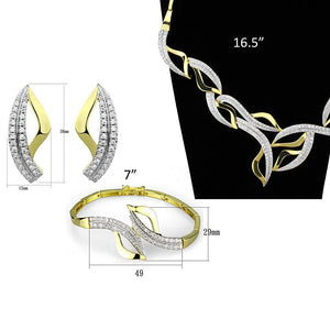 3W942 - Gold+Rhodium Brass Jewelry Sets with AAA Grade CZ  in Clear
