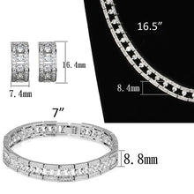 Load image into Gallery viewer, 3W944 - Rhodium Brass Jewelry Sets with AAA Grade CZ  in Clear