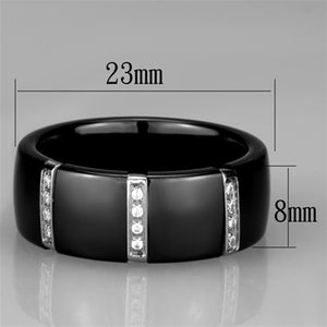 3W956 - High polished (no plating) Stainless Steel Ring with Ceramic  in Jet