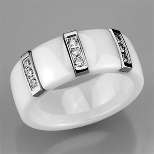 3W957 - High polished (no plating) Stainless Steel Ring with Ceramic  in White