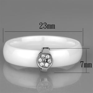 3W958 - High polished (no plating) Stainless Steel Ring with Ceramic  in White
