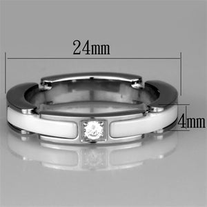 3W963 - High polished (no plating) Stainless Steel Ring with Ceramic  in White